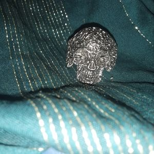 SZ 11 Day of the Dead Silver Plated Men's Ring